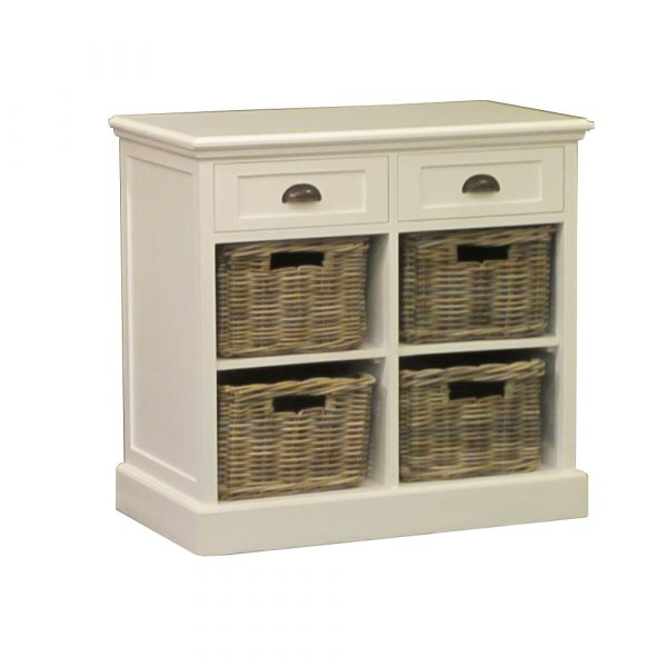 Cabinet 2 Drawer, 4 Rattan Basket